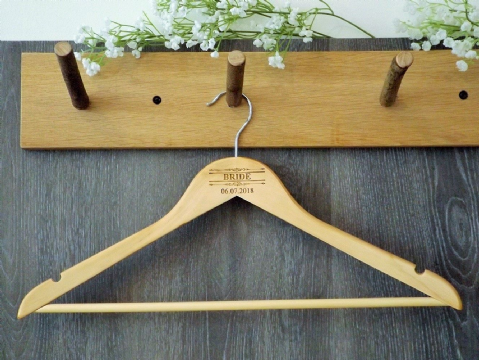 Personalised Wooden Wedding Bridal Hanger Bride Bridesmaid - Scroll